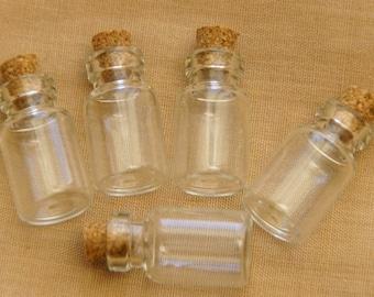 10 Mini glass vials with cork lid/23 x 13 mm