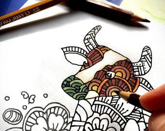 zentangle cow printable coloring page ~ animal - Instant Download only, Art Printable illustrations