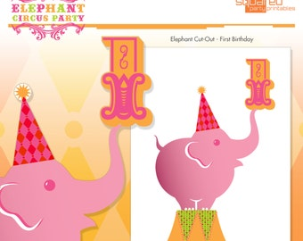 Pink Circus Elephant Birthday Party Printables - Elephant Centerpiece Cut-Out - First Birthday- DIY Print -1st Birthday - Instant Download