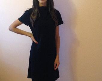 Mod Black Dress - High Bateau Neckline
