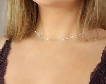 Silver Chain Choker Necklace, Satellite Necklace, Delicate Chain Necklace, Dainty Silver Chain Choker, Simple Silver Choker, Beaded Necklace