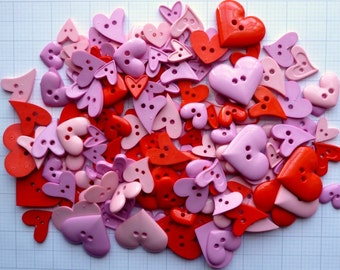 HEART buttons x100g Pink & Red