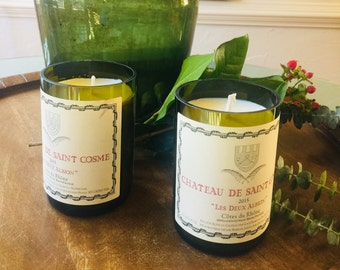 Wine Bottle Candle - Handmade from Recycled Wine Bottles - Choose Your Favorite Scent
