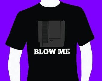 Blow me video game cartridge funny men's T-shirt