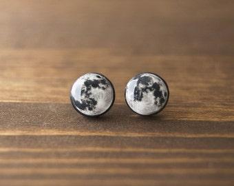Full moon earrings, space, astronomy, black, white, grey, stud earrings