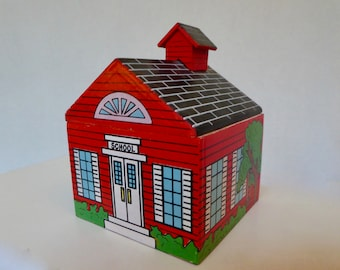 Miniature Wooden Toy One Room School House With Peg People-Like Students and a Teacher