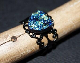 Druzy Ring - Blue Heart Ring - Heart Faux Drusy Ring - Black Filigree Adjustable Ring Base -