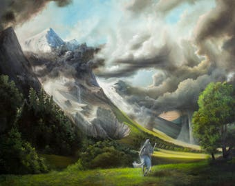 Gandalf Riding Along the Misty Mountains - Print