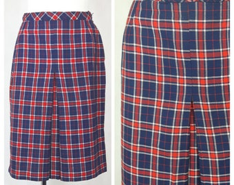 Vintage 70's Skirt Knee Length Check Fitted Preppy Blue/Red UK12/14 EU40