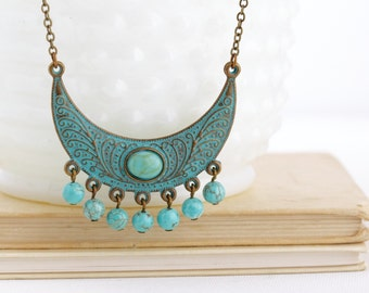 Mother Gift - Boho Jewelry - Ethnic Necklace - Tribal Necklace - Bohemian Necklace - Gypsy Jewelry - Verdigris Necklace - Turquoise Necklace