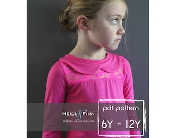 Patrón de Gatsby vestido PDF y tutorial 6-12 fácil coser túnica vestido jumper