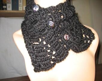 Black Crochet Neck Warmer, Crochet Scarf with Buttons, Women's, Lacy Black Scarf, Crochet Lacy Scarf, Soft Scarf, Crochet Black Lacy Scarf