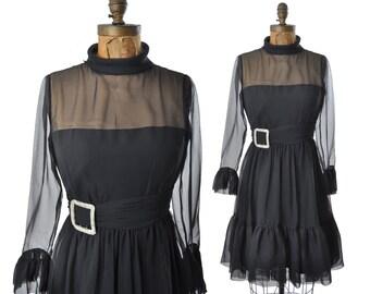 60s party dress / chiffon illusion dress / 1960s dress / vintage 60s dress