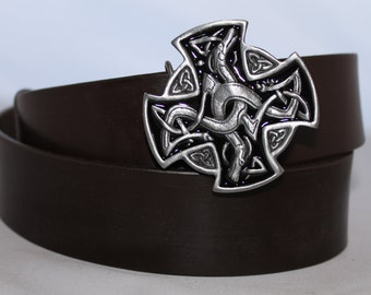 1.75 Handmade leather belt with celtic buckle