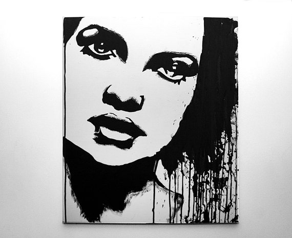 Items similar to black and white portrait of woman acrylic painting size 50 cm x 60 cm x 15 cm on etsy