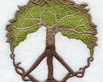 Peace Tree Embroidered Flour Sack Hand/Dish Towel