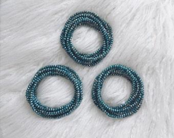 Teal Metallic Double Wrap Beaded Necklace