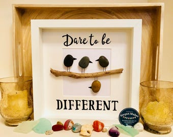 Dare to be different pebble art stone art