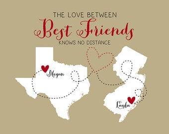Best Friend Gift for Birthday Art Print, Map Hometowns, Just Because, Unique Gift, Long Distance Friends, Friendship Quote, BFF | WF143