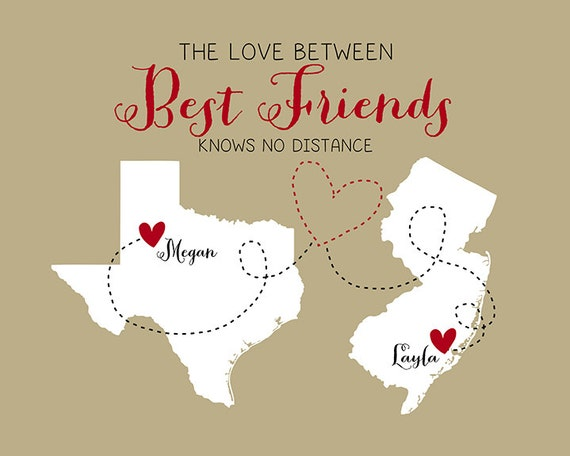 Love Knows No Color Quotes: Best Friend Gift For Birthday Art Print Map Hometowns Just