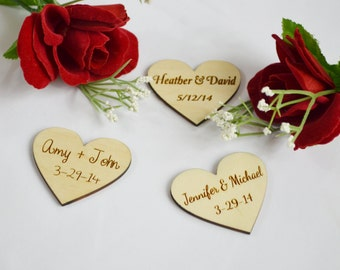 Personalized Wooden Hearts, Wedding Favors, Engraved Wood Hearts, Heart Tags, Heart Favors, Engraved Hearts, Personalized Heart, Wood Heart