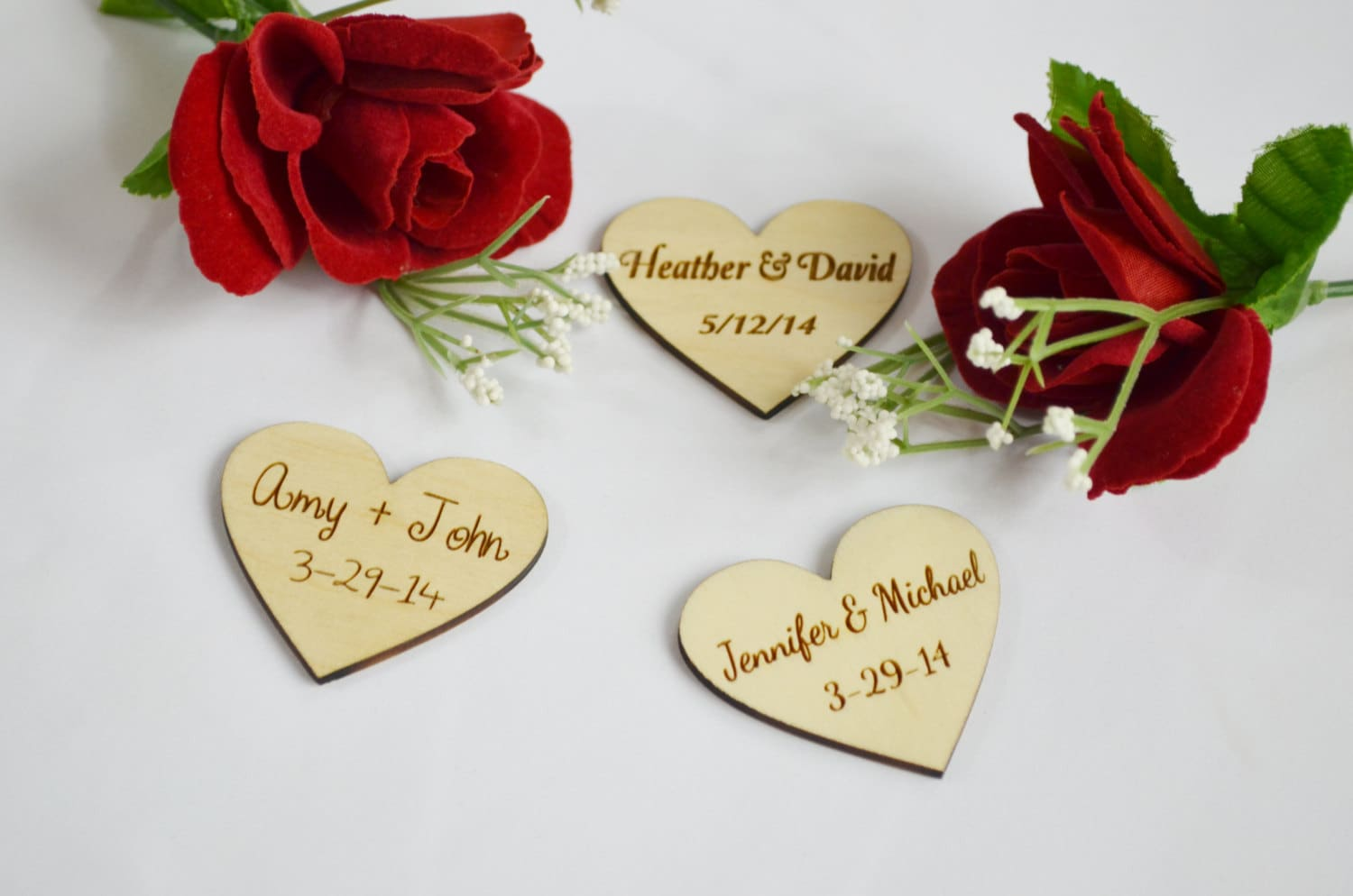 Personalized Wooden Hearts Wedding Favors Engraved Wood