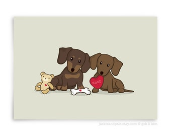 Dog Print - Two Dachshund with love and toys, Cute Dachshund Print, Home Decor, Dog Illustration, Gift Under 10, Gift for dog lovers
