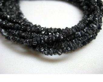 Black Rough Diamonds, Black Raw Diamond Beads, Black Uncut Diamonds, 4mm To 2mm, 4 Inch Strand, Diamond Necklace