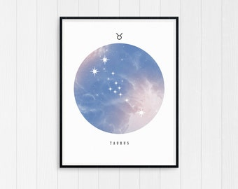 Taurus print, Zodiac Art Print, Taurus Art, Taurus Printable Birthday Gift, Taurus Constellation, Horoscope Decor, Digital Download, Zodiac