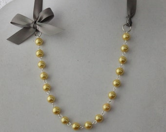 Yellow Pearl and Charcoal Gray Ribbon Bow Necklace