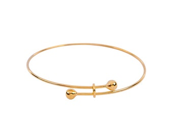 Adjustable Bangle Bracelet Gold Plated Copper High Quality Unique Loops - N207