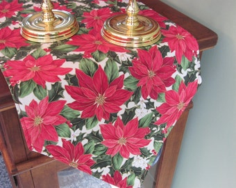 """Red Poinsettia Table Runner 72""""-90"""" Reversible Christmas Table Runner Christmas Poinsettia Table Runner Red and Gold Holiday Table Runner"""