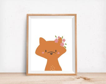 Floral Fox Print, Digital Poster, Children's Wall Art, Modern Decor, Illustration, Woodland, Forest, Nursery