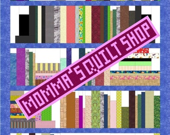 Bookshelf Library Twin Size Quilt Pattern PDF INSTANT DOWNLOAD