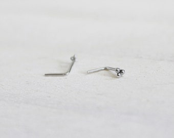 Sterling Silver Mini Triple Bead Nose/Tragus Stud. Piercing Jewelry. Small Nostril stud. Tragus Jewelry. Three Bead Stud. Indian Inspired.