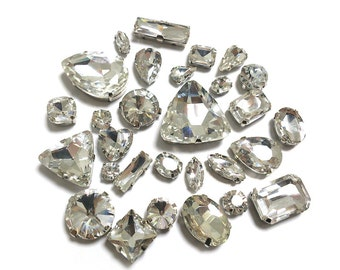 Sew On Crystal Fancy Stones in Silver Setting 10pcs