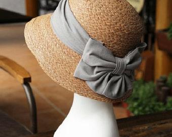 Lafite dome cotton grass fold big bowknot basin of straw hat cap sun hat
