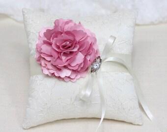 Wedding ring bearer pillow, pink flower on ivory lace ring pillow, wedding ring bearer cushion,