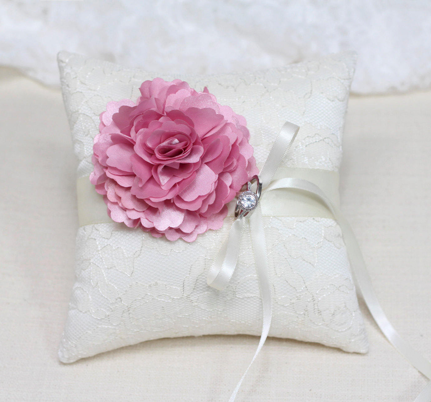 Wedding ring bearer pillow pink flower on ivory lace ring