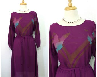 1960s Dress Burgundy Bird print Sheer Chiffon Party dress M
