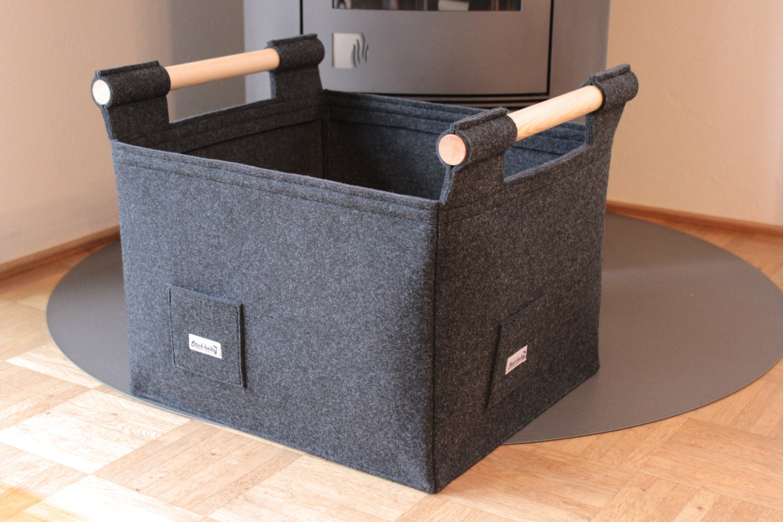 gro er premium feuerholzkorb aus filz mit holzgriffen. Black Bedroom Furniture Sets. Home Design Ideas
