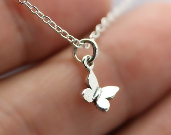 TINY BUTTERFLY NECKLACE - 925 Sterling Silver - Butterfly Charm Insect Wings New