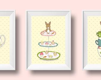 Children's Wall Art Print Set of 3 - Friends for Tea - Girl Kids Nursery Room Decor