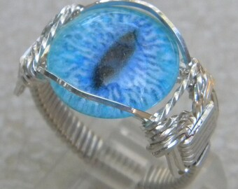 Sterling Silver Blue Eyeball Ring, Cats Eye Ring, Eyeball ring, wire wrapped eye ring, blue eyeball ring, evil eye ring, blue evil eye ring