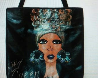 Queen Cloth Tote Bag, Afro Painting Tote Bag, Afrocentric Tote Bag,