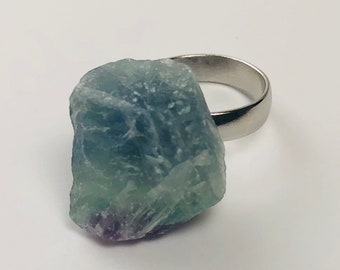 Raw Blue, Green, and Purple Flourite Statement Ring
