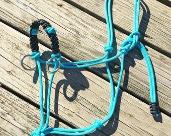 Custom Braided Sidepull Rope Halter, Bitless Bridle, Custom Horse Halter, Rope Halter, Yacht Rope Halter, Sidepull Halter, Riding Halter