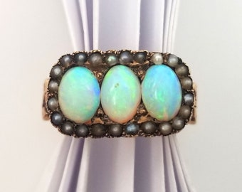 Late Victorian Gold and Seed Pearl Ring with Opals