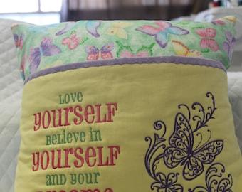 Love yourself reading pocket pillow. Girls, butterflies, greens, yellow,