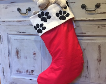 Doggy Paw Print Christmas Stockings, Quality Hand Made Padded and Lined, 55cm